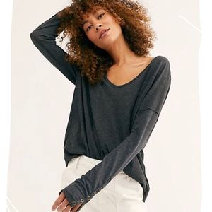 NWT Free People Sienna Snap Cuff Long Sleeve Shirt